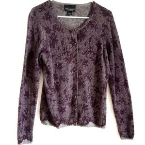 Cynthia Rowley Cashmere Cardigan Purple Lace L